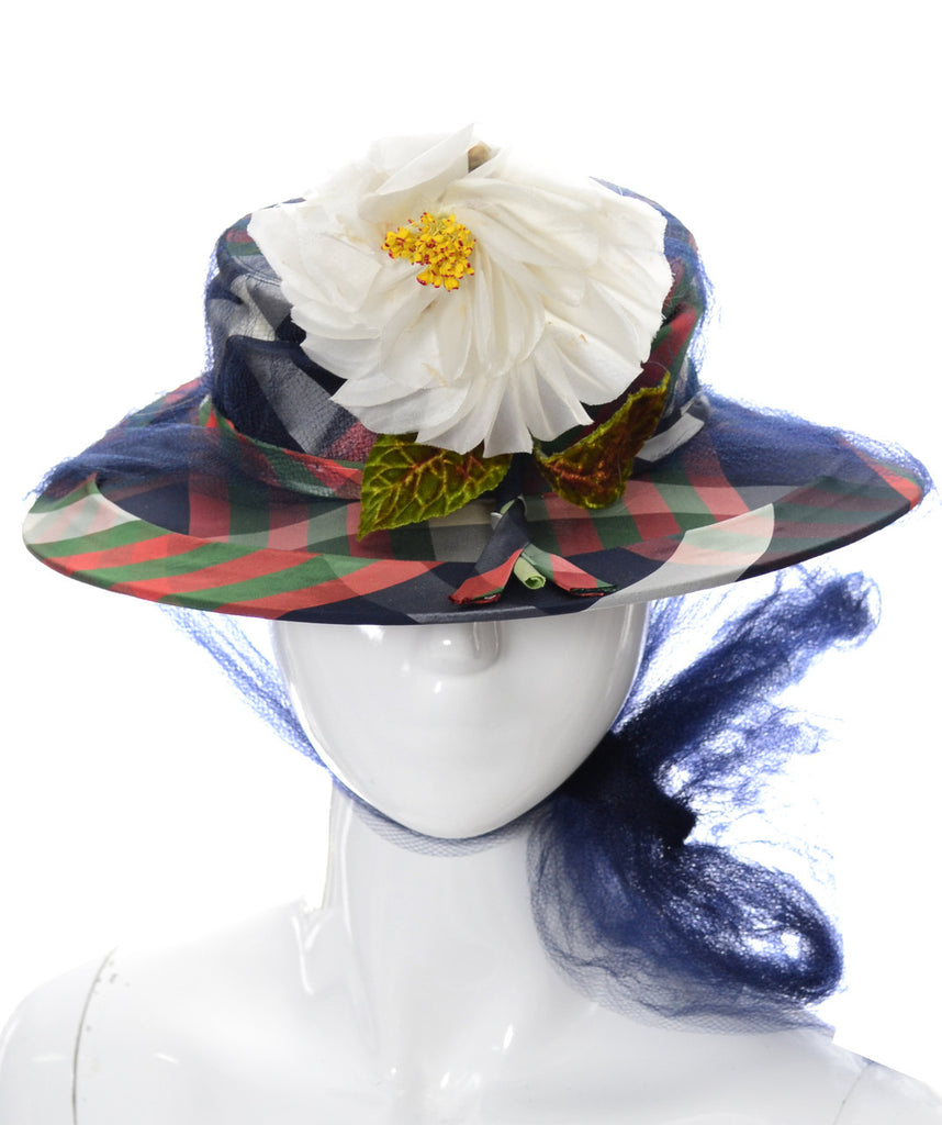 New York Creations Nicholas Ungar vintage plaid boater hat with flower and netting NEW with tags - Dressing Vintage