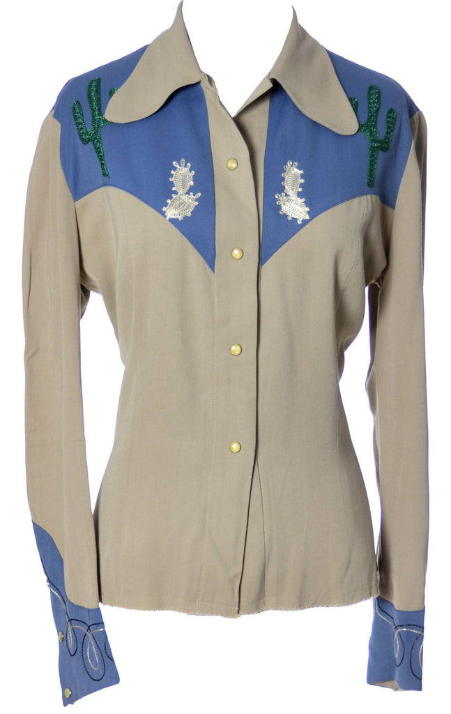 Vintage embroidered western shirt gabardine embroidery