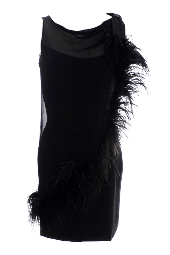 Vintage black coctail dress with feathers