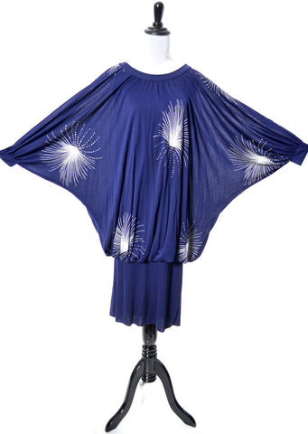 Hand Painted Blue Rayon Batwing Vintage Dress France - Dressing Vintage