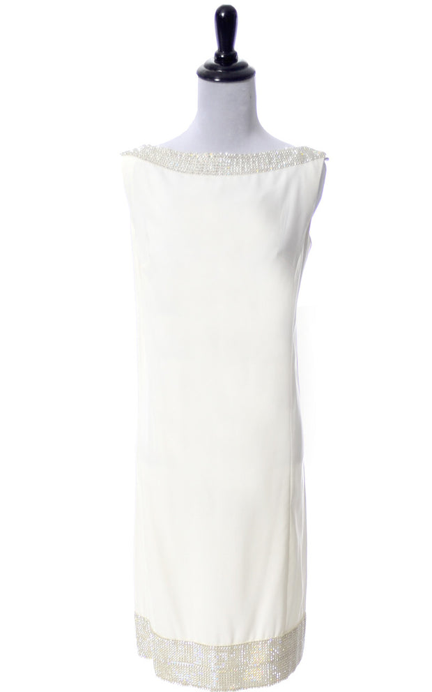 1960's Maison Mendessolle Vintage Ivory Shift Cocktail Dress with Rhinestones - Dressing Vintage