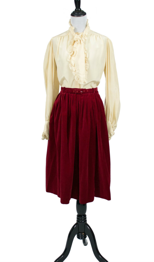 cherry red vintage skirt suit