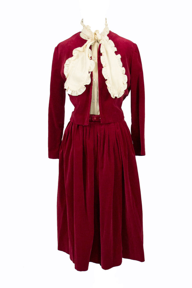 Vintage red velvet skirt suit