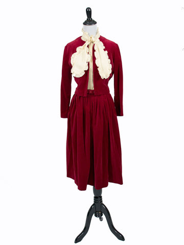 Vintage cherry red velvet skirt bolero jacket suit
