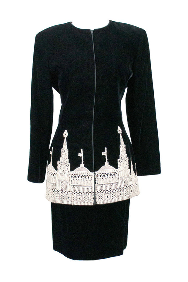 To Die For Vintage Valentino Designer Velvet and Lace Skirt Suit - Dressing Vintage