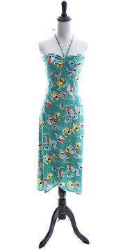 1970's Cotton Green Floral Vintage Halter Dress From Karavan - Dressing Vintage