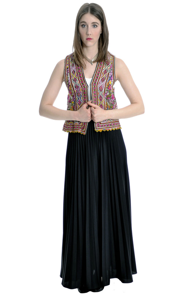 vintage ethnic hand embroidered floral vest