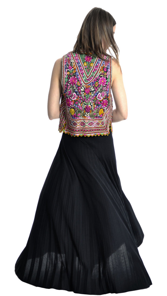 vintage ethnic hand embroidered vest and maxi skirt