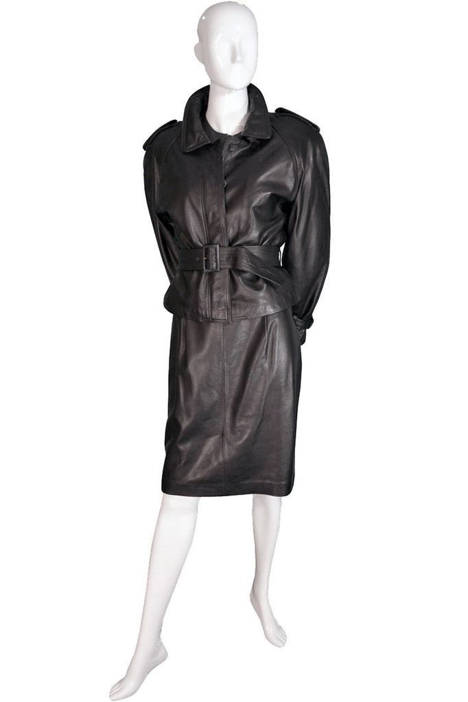Vintage Ferragamo leather jacket and skirt suit