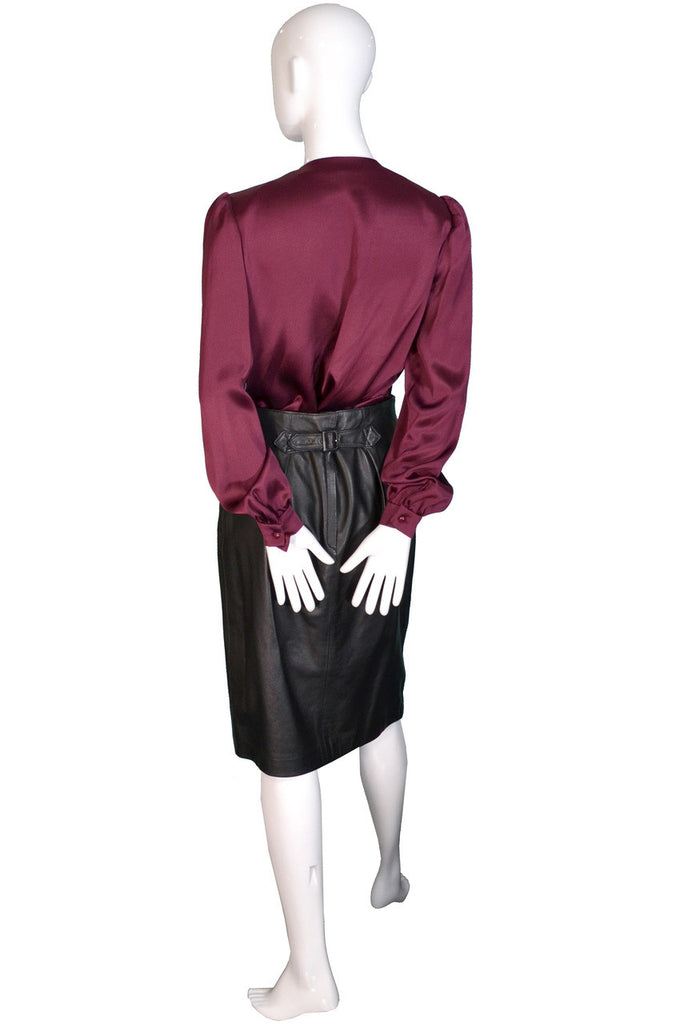 Vintage Ferragamo leather skirt suit with bomber jacket