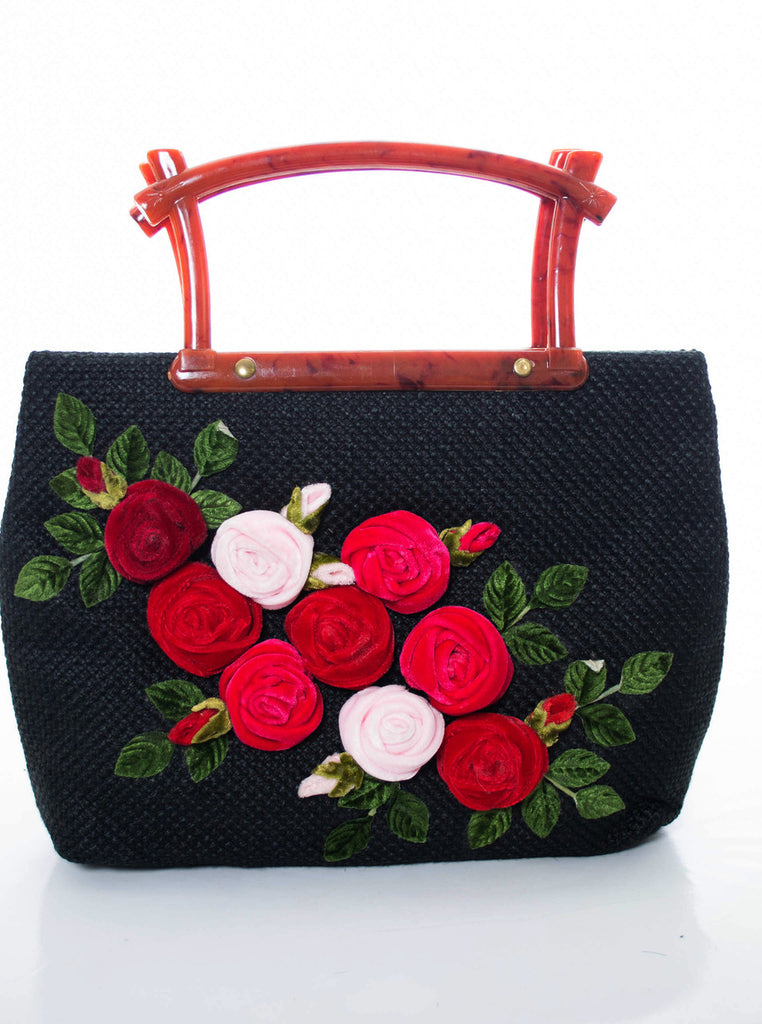 Vintage handbag with velvet applique roses and lucite handle