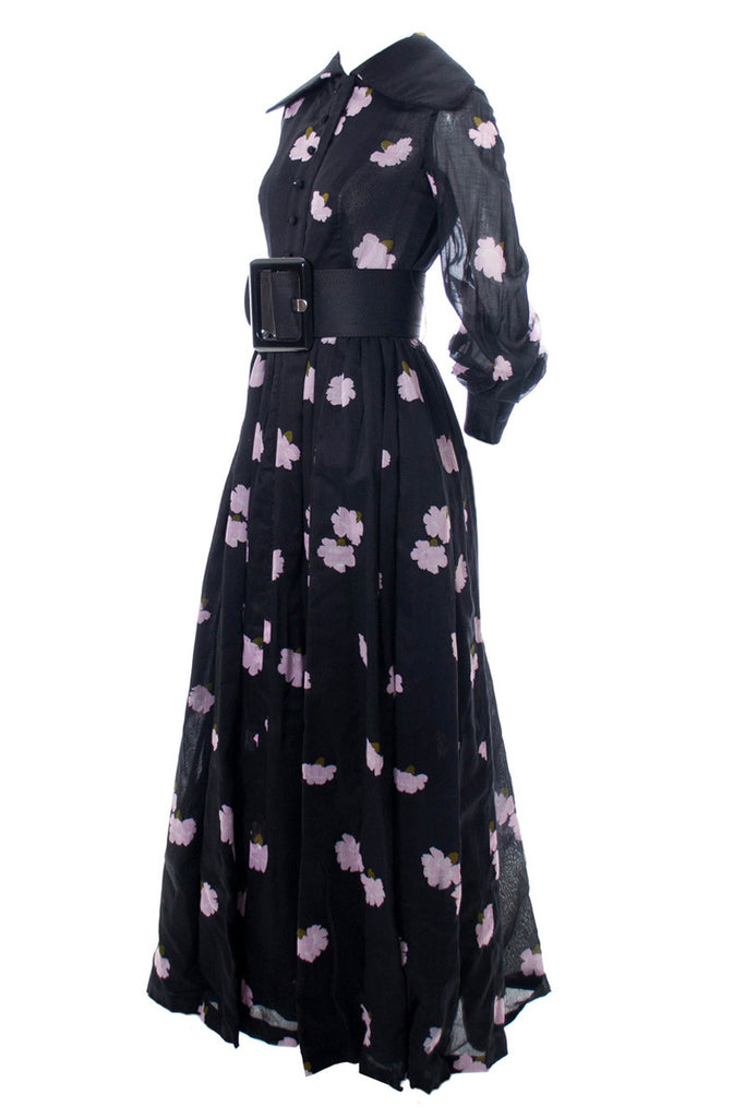 1960s Rare Collectible Vintage Geoffrey Beene Full Length Floral Dress - Dressing Vintage