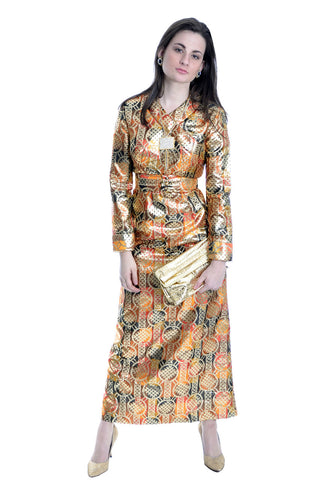 1970's Gold Metallic Krist Vintage Dress Never Worn - Dressing Vintage