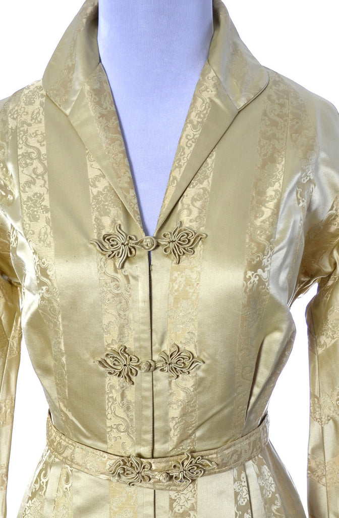 1940s vintage hostess gown gold satin