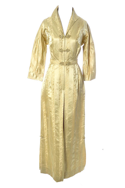 1950s Gold Satin Vintage Hostess Gown - Dressing Vintage