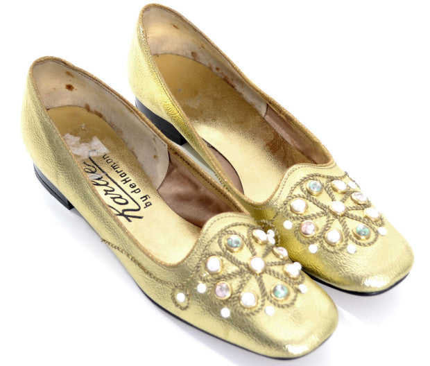 1960's Gold Lame Beaded Vintage Shoes Karlee by de Harmon 7.5 - Dressing Vintage