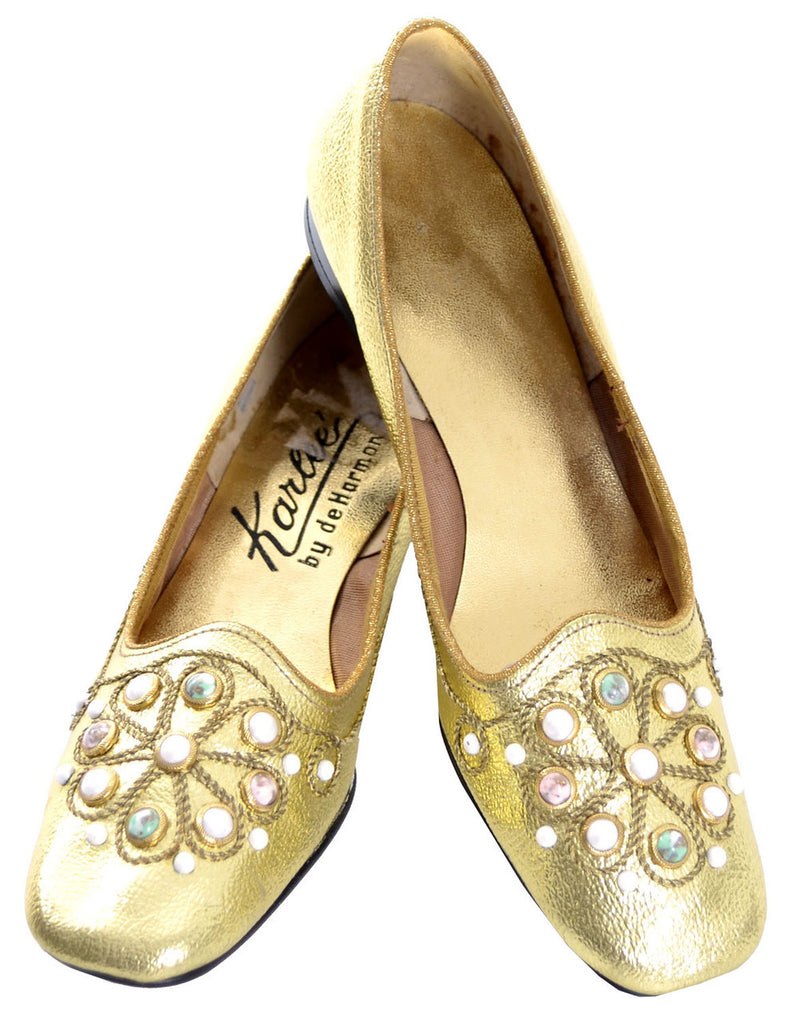 Gold Vintage shoes beaded hostess slippers 60s