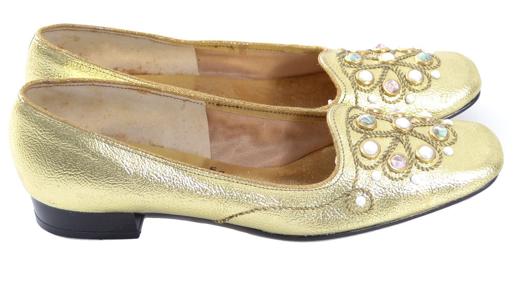1960s gold vintage shoes beaded