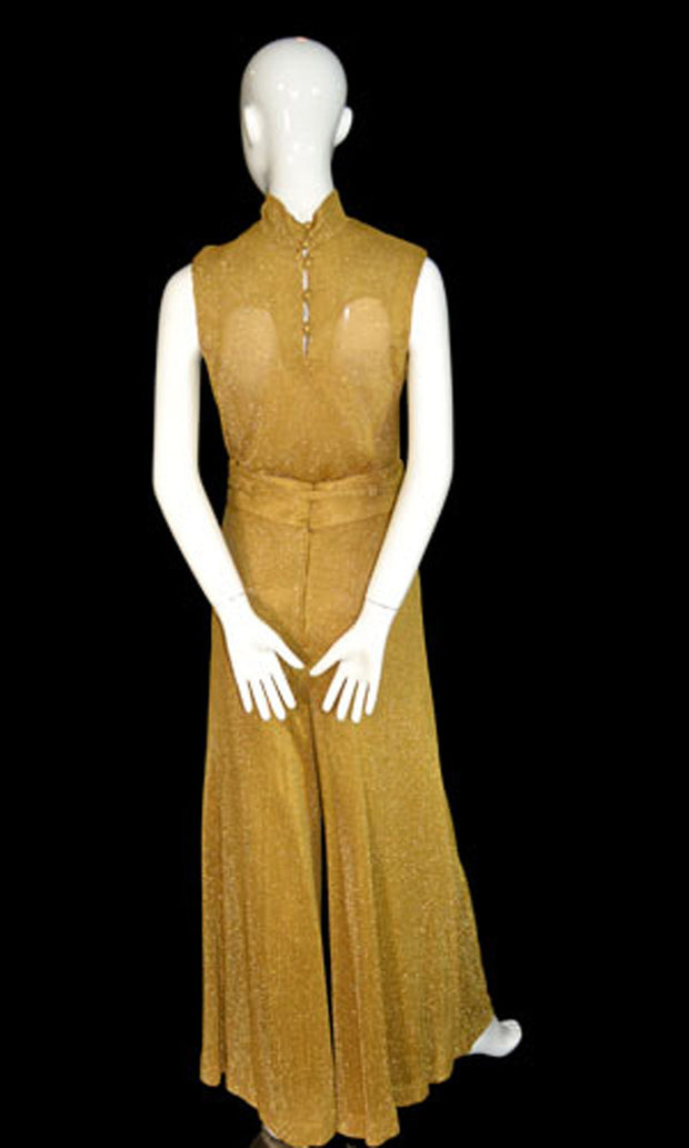 Beverly Page Gold Metallic Knit Vintage Palazzo Pants and Top Ensemble SOLD - Dressing Vintage