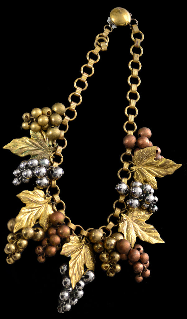 1940s Mixed Metal Grape Leaf Wine Lover's Vintage Necklace