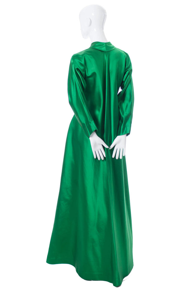 Vintage hostess gown Emerald Green Satin 1940's robe SOLD - Dressing Vintage