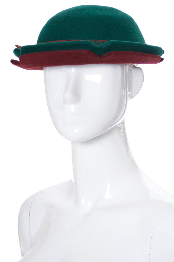 Vintage red and green wool felt hat 1930s