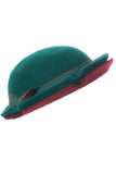 Vintage red and green layered bowler hat at Dressing Vintage