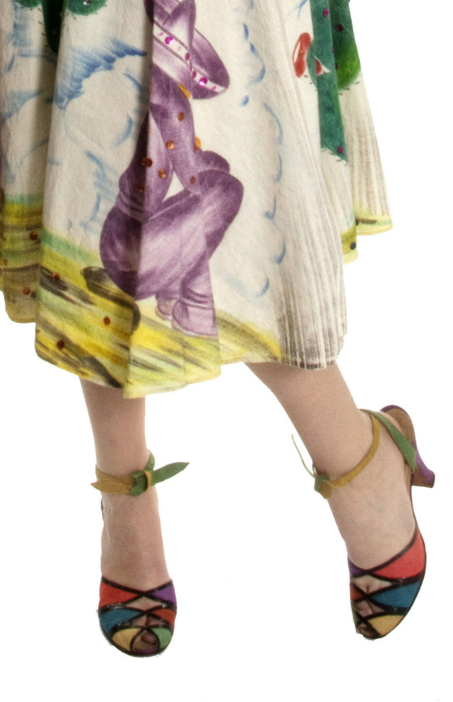 Vintage hand painted Mexican skirt and 1940's peep toe shoes