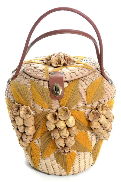 1960's Vintage Handbag Woven Straw Tropics Leather Trim - Dressing Vintage