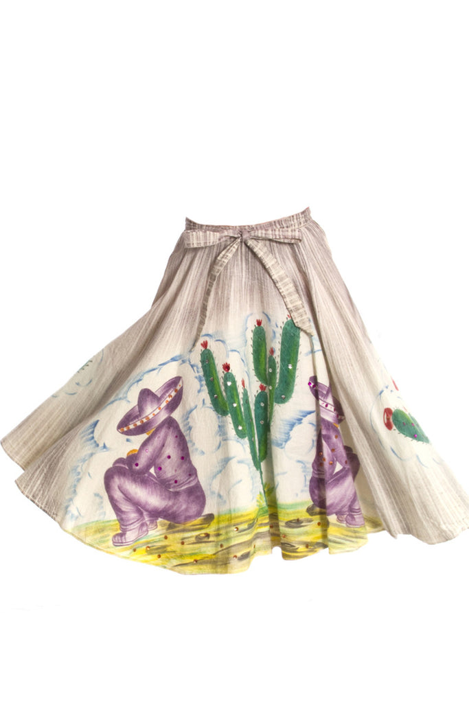 1950s Hand painted mexican skirt