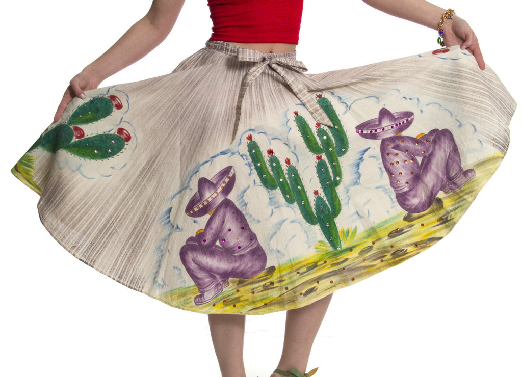 Vintage skirt handpainted Mexican Sombrero