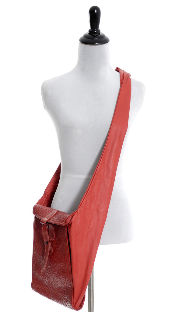 vintage handbag cross body bag red