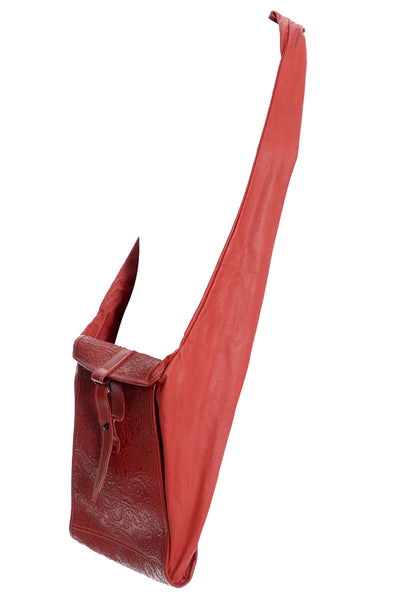 1980s Rare Red Embossed Leather Cross Body Handbag - Dressing Vintage