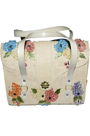 1960's Vintage Handbag Satchel Straw Flowers Cork Mirror As New - Dressing Vintage