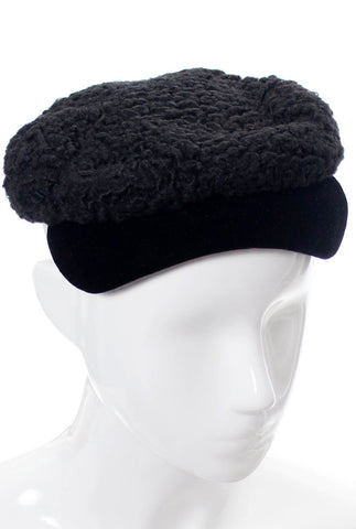 Hattie Carnegie I Magnin late 1930s vintage curly lambswool hat with velvet trim - Dressing Vintage