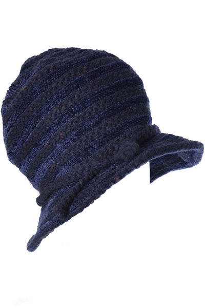 1980's Jacques le Corre Paris Vintage Hat Blue & Black Knit - Dressing Vintage