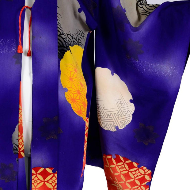 Purple silk vintage Japanese robe