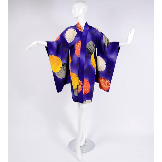 Vintage 1930's silk purple yellow grey kimono