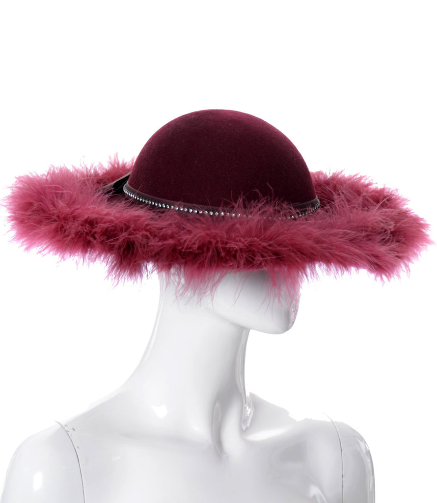 Kurt Jr. vintage red ostrich feather hat