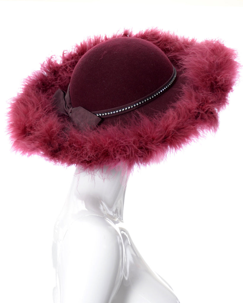 Red vintage hat Kurt Jr. ostrich feathers