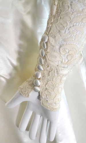 Beautiful lace and satin vintage wedding dress