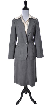 1970's Loewe Spain Vintage Skirt Suit Gray Wool - Dressing Vintage