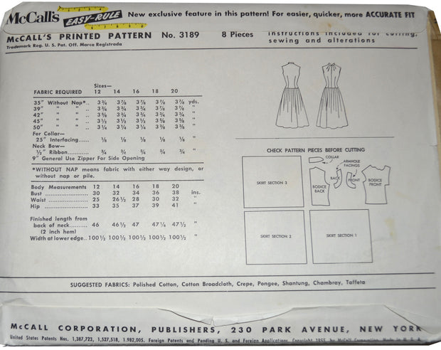 1950s Vintage Dress Pattern McCall's 3189 32B UNCUT - Dressing Vintage