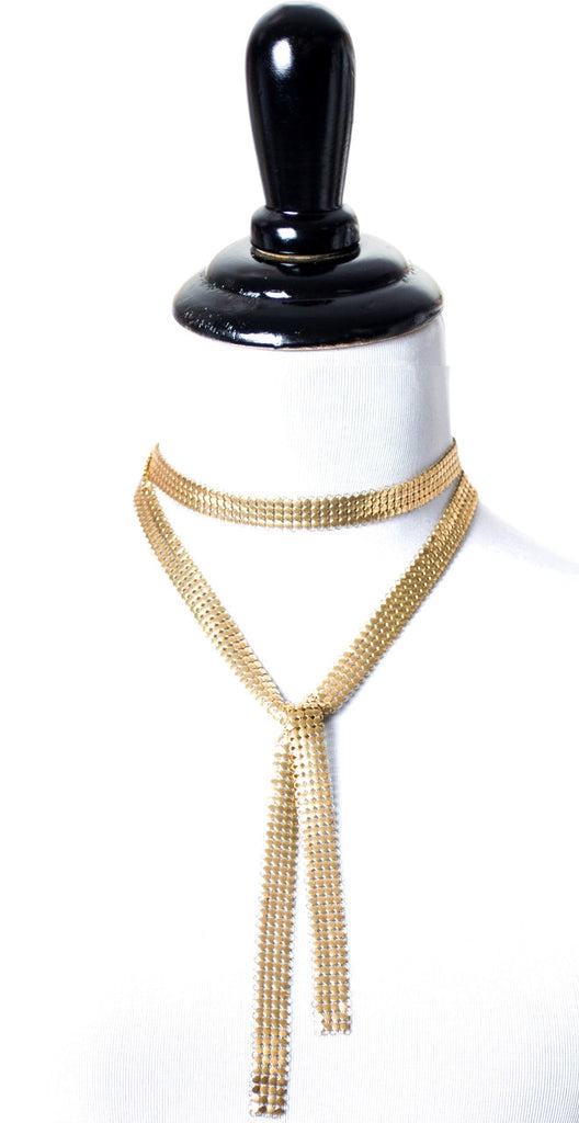 flapper style vintage gold mesh necklace