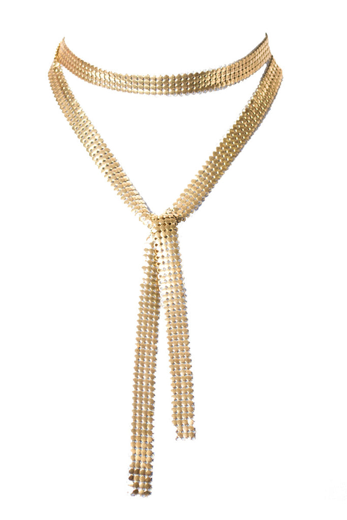 Vintage Gold Mesh Scarf Tie Style Long Necklace - Dressing Vintage