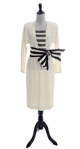 1980s Vintage Mignon Dress with Striped Bow and Rhinestones - Dressing Vintage