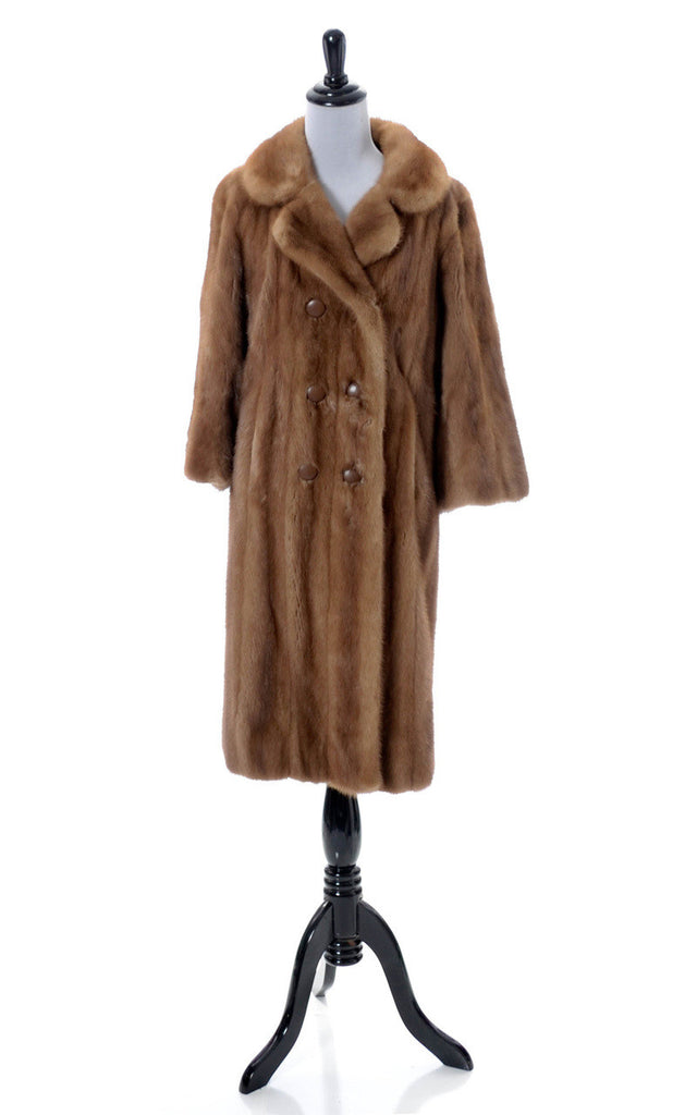Full length light color vintage mink coat