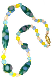 Murano Glass bead vintage necklace oval polka dots hand knotted