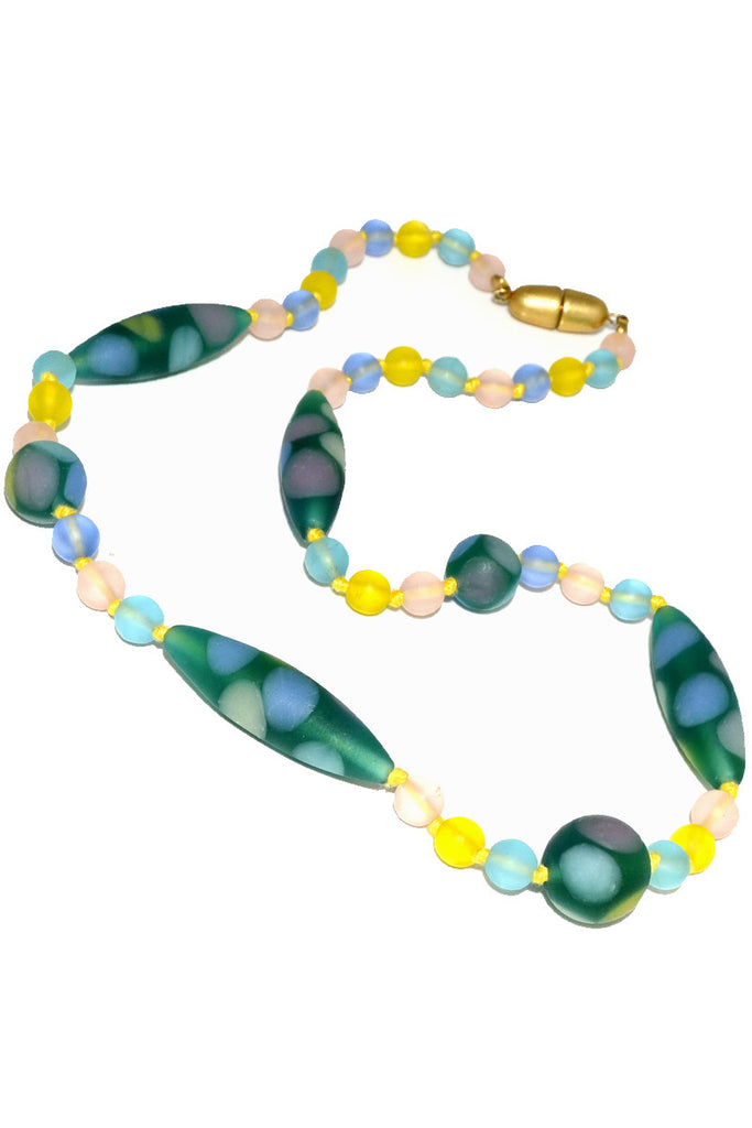 Murano Glass bead vintage necklace oval polka dots hand knotted - Dressing Vintage