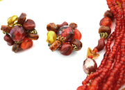 1950's Multi Strand Vintage Necklace Earrings Demi Parure Germany - Dressing Vintage